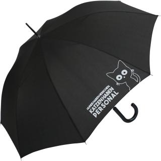 """Regenschirm-Set Stockschirm und Taschenschirm mit Automatik """"Katzen haben Personal..."""" schwarz navy-blau"""