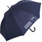 """Regenschirm-Set Stockschirm und Taschenschirm mit Automatik """"Katzen haben Personal..."""" navy-blau gelb"""