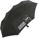 """Regenschirm-Set Stockschirm und Taschenschirm mit Automatik """"Katzen haben Personal..."""" gelb schwarz"""