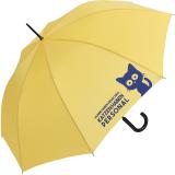 """Regenschirm-Set Stockschirm und Taschenschirm mit Automatik """"Katzen haben Personal..."""" gelb navy-blau"""