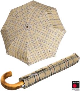 Knirps Herren Taschenschirm Topmatic SL Holz-Rundhakengriff check beige