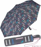 Esprit Taschenschirm Easymatic Light mit Auf-Zu Automatik Letterjam - grey