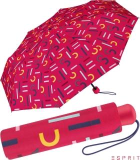 Esprit Mini Taschenschirm mit Shopper-Bag - Letterjam - pink