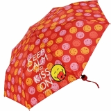 Smiley Mini Taschenschirm lustig bedruckt - Keep Calm And...