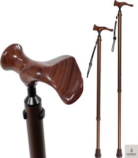Gastrock Gehstock Comfort-Stock mit anatomischem Griff in Holzoptik - Linkshänder