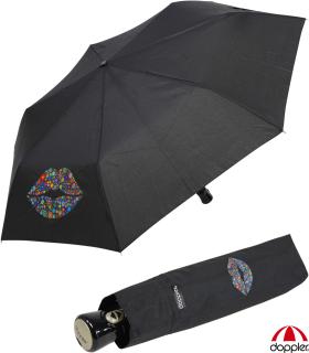 Doppler Taschenschirm Auf-Zu-Automatik Havanna Kiss mit UV Schutz - schwarz
